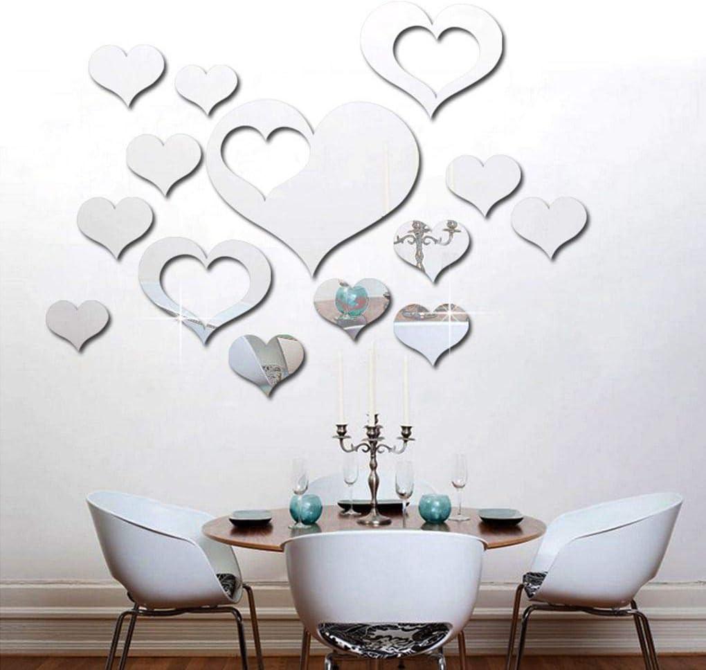 Set del Amor del coraz/ón del Espejo Etiqueta de acr/ílico 3D Espejo Fondo de Pantalla de Bricolaje extra/íbles Living Etiquetas de la Pared LEVEL GREAT 16Pcs