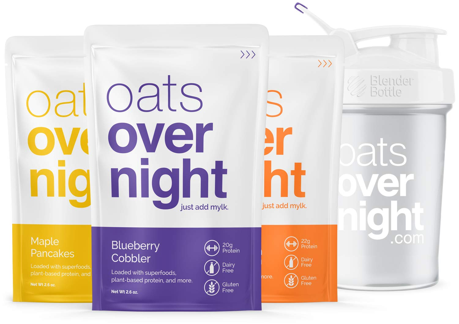 Oats Overnight 24 Pack Plant Based with BlenderBottle - Premium High-Protein, Low-Sugar, Gluten-Free (2.6oz per pack) by Oats Overnight (Image #1)
