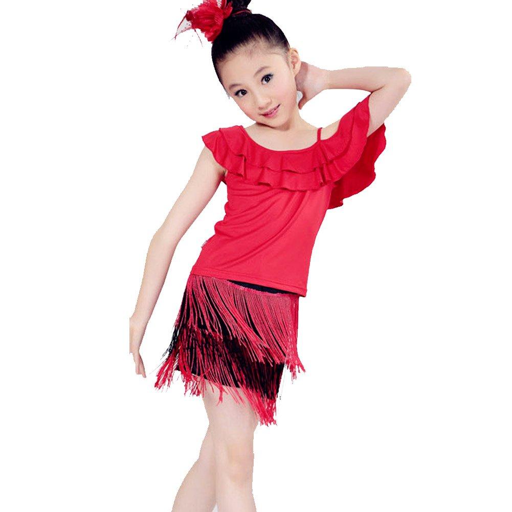 WuYi KD1319 Little Girls Tassel Latin dance skirt Child Ballroom Dress Set