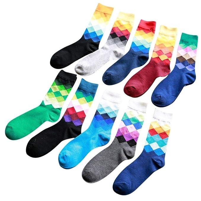 OVINEE Calcetines De Algodón Estampados Para Hombre-10 Pares,calcetines cortos, tobilleros,