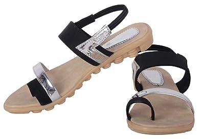 29394a026 GrienYrus Women s Party Wear Black Sandal Metallic Flat Footwear Golden  Black Ladies Sandal
