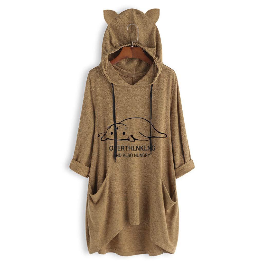 Hanomes Damen Pullover, Damen Casual liegende Katze gedruckte Hoodie Lange Pullover Lose Sweatshirt mit Tasche Kapuzenpullover