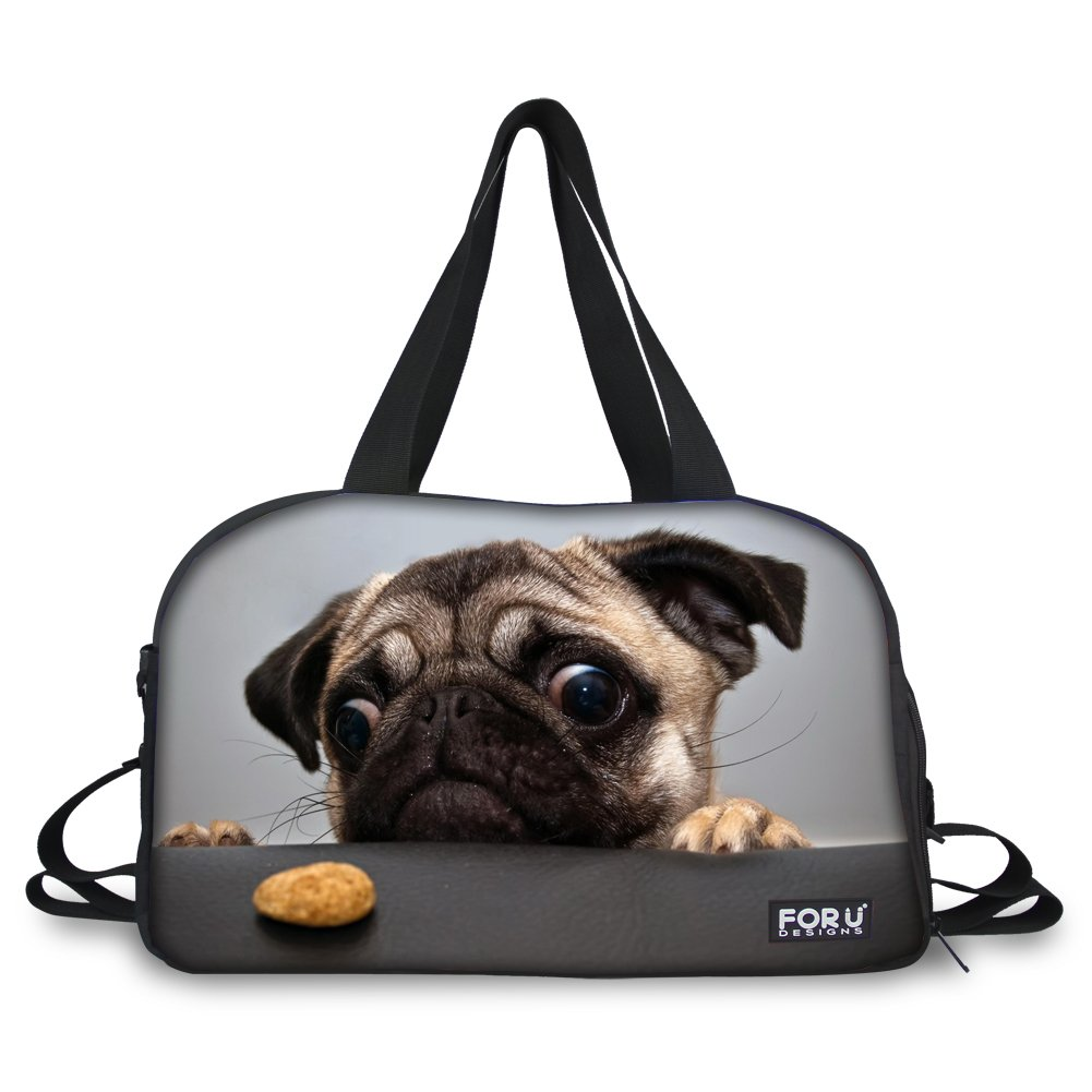 HUGS IDEA 3D Pet Dog Pug Print Large Gym Sports Diapers Travel Tote Bag Duffles by HUGS IDEA