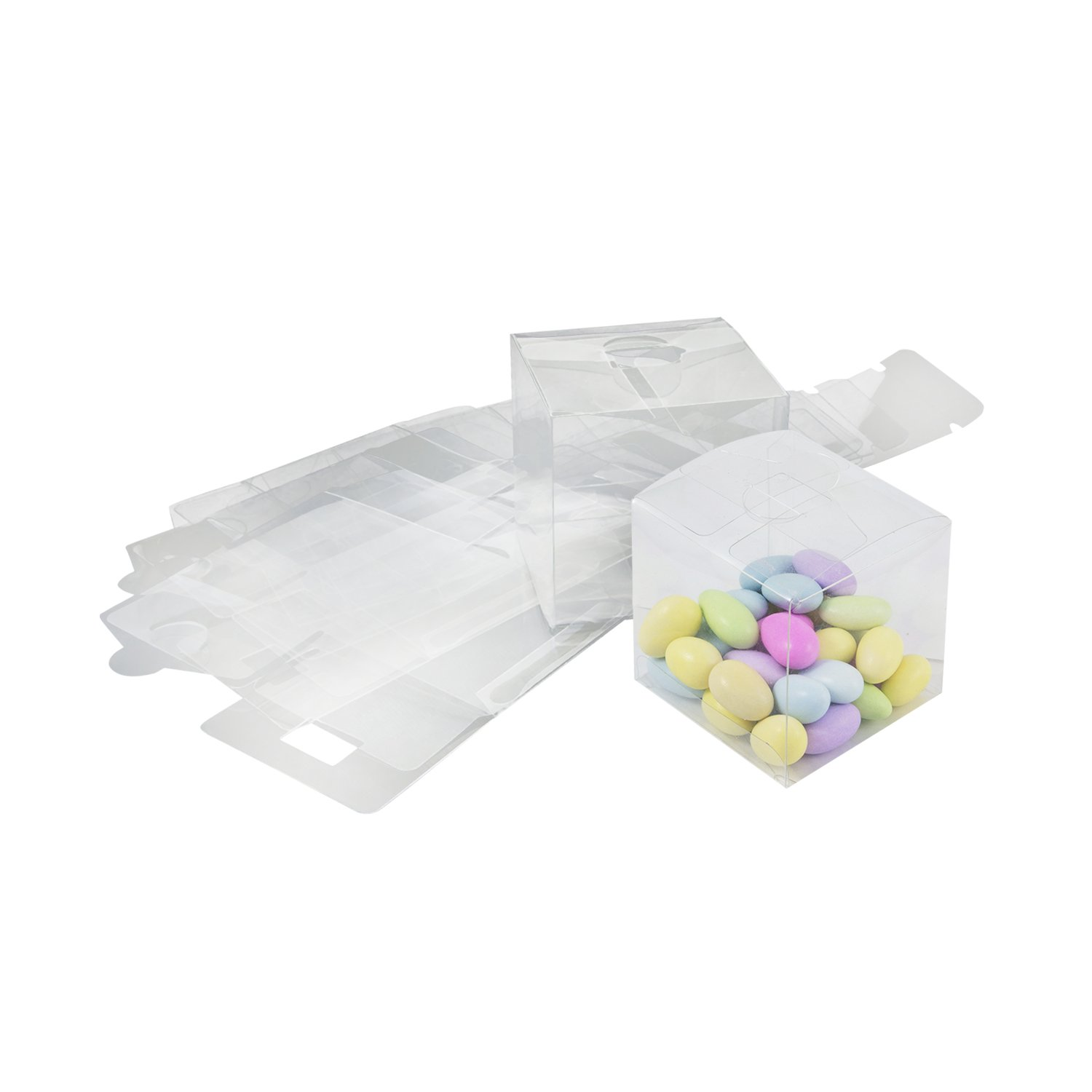 Houseables Clear Favor Boxes, Plastic Gift Box, 3x3x3 Inch, 50 Pack, Transparent, Small, Square, Storage Bins, Empty Boxed Containers, for Wedding, Party, Birthday Presents, Candy, Cupcakes, Jewelry ClGiBo
