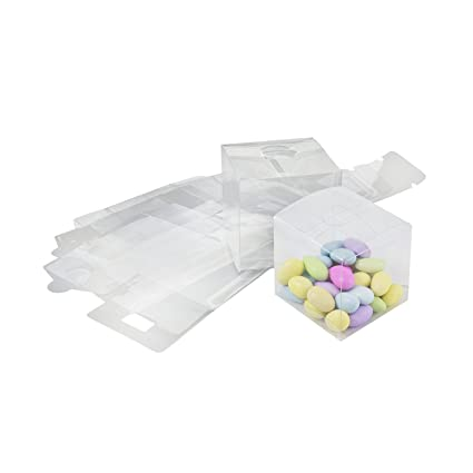 Houseables Clear Favor Boxes Plastic Gift Box 3x3x3 Inch 50 Pack Transparent Small Square Storage Bins Empty Boxed Containers Wedding Party