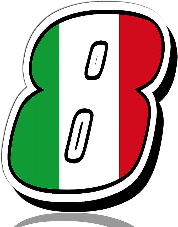 Biomar Labs® Número 8 Bandera de Italia Nacional Italy Calavera Vinilo Adhesivo Pegatina Coche Auto Motocross Moto Sport Start Racing Tuning N 318: Amazon.es: Coche y moto
