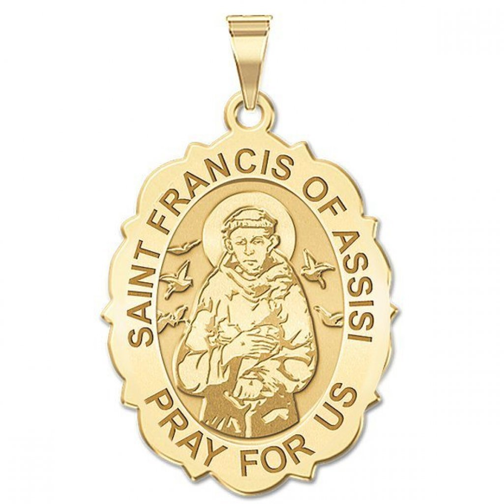 or Sterling Silver PicturesOnGold.com Saint Francis of Assisi Scalloped Oval Religious Medal 14K Yellow or White Gold