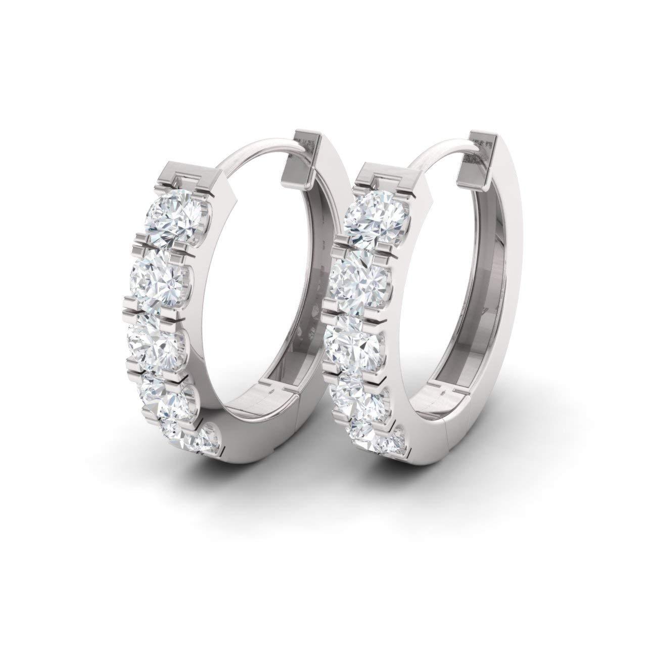 Diamondere Natural and Certified Diamond Huggies Earrings in 14K White Gold   1.11 Carat Earrings for Women