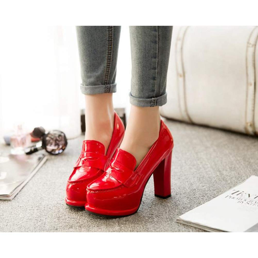 JQfashion Autumn Super High Heel Thick with Single Shoes Patent Leather Red Wedding Shoes Female Waterproof Platform Thick Black