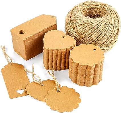 compleanni e Natale Etichette regalo di tag di carta kraft tag regalo e corda di iuta 40 M per i regali di etichette dei prezzi per matrimoni
