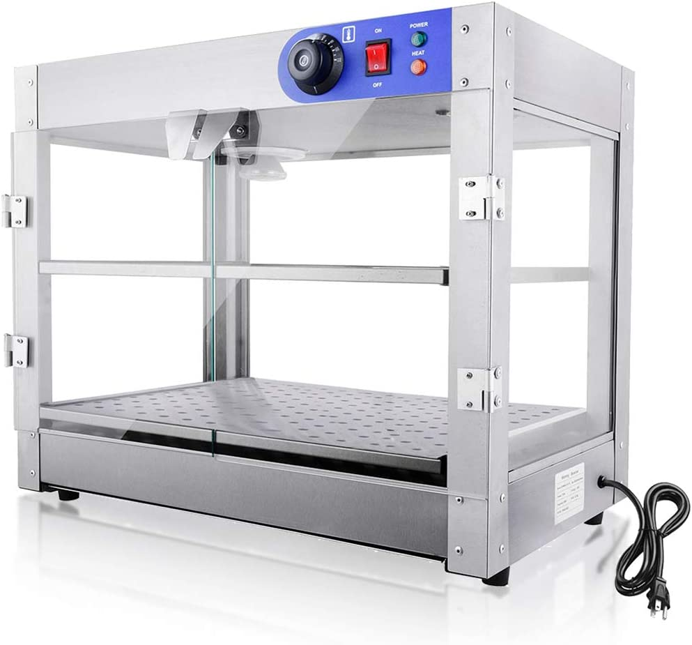 WeChef Commercial Countertop Food Pizza Warmer 2-Tier 24x20x25 inch Pastry Heater Display Case for Buffet Restaurant