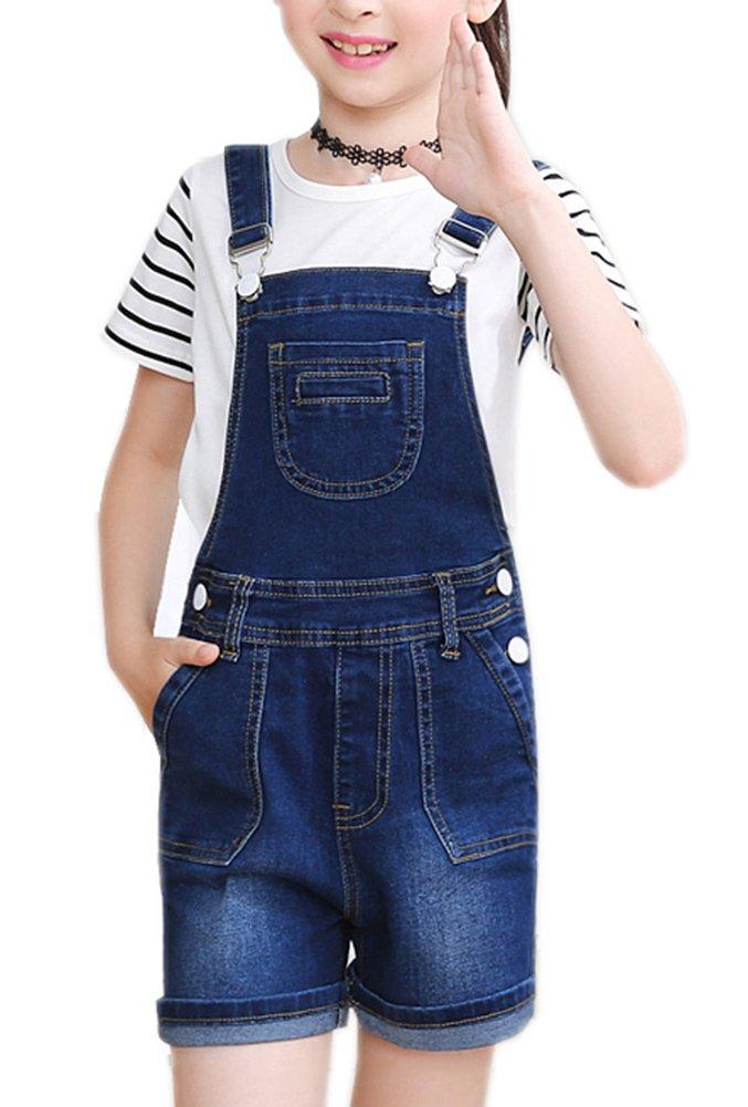 Sitmptol Big Girl's Denim Jumpsuit Boyfriend Bib Jeans Romper Shortalls 140 Dark Blue