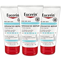 Eucerin Advanced Repair Hand Cream, Lotion for Very Dry Skin Use After Washing with Hand Soap, Fragrance Free, 8.1 Ounce (Pack of 3)