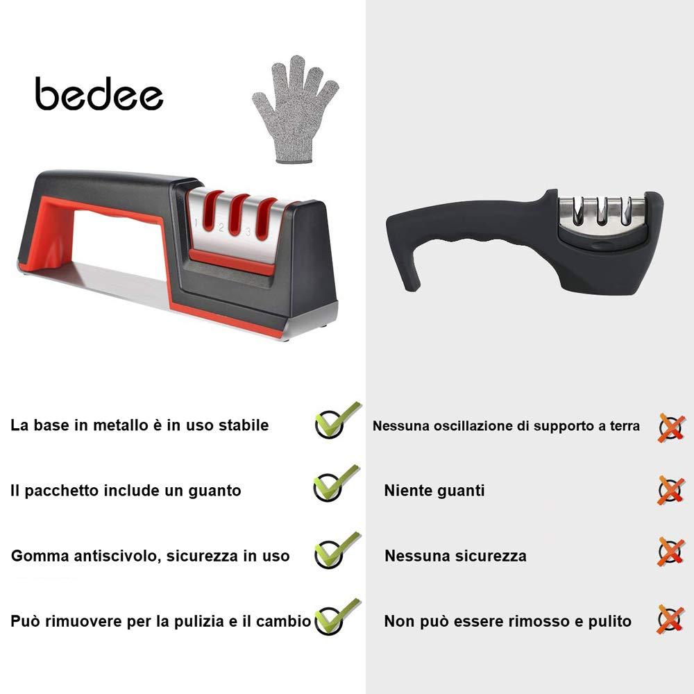 bedee Affilacoltelli Manuali, Affilacoltelli, Strumento per Affilare i coltelli Manuale a 3 stadi, Base Antiscivolo, Facile da Controllare