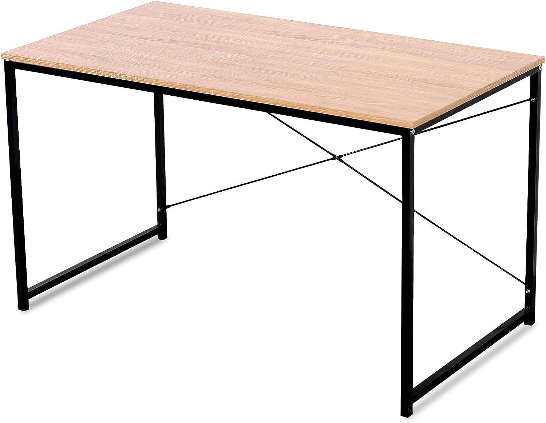 WOLTU Escritorio de Computadora Muebles de Oficina Mesa de PC Mesa de Oficina Ordenador con Diseño Industrial, Madera y Acero 120x60x70cm Roble+Negro ...