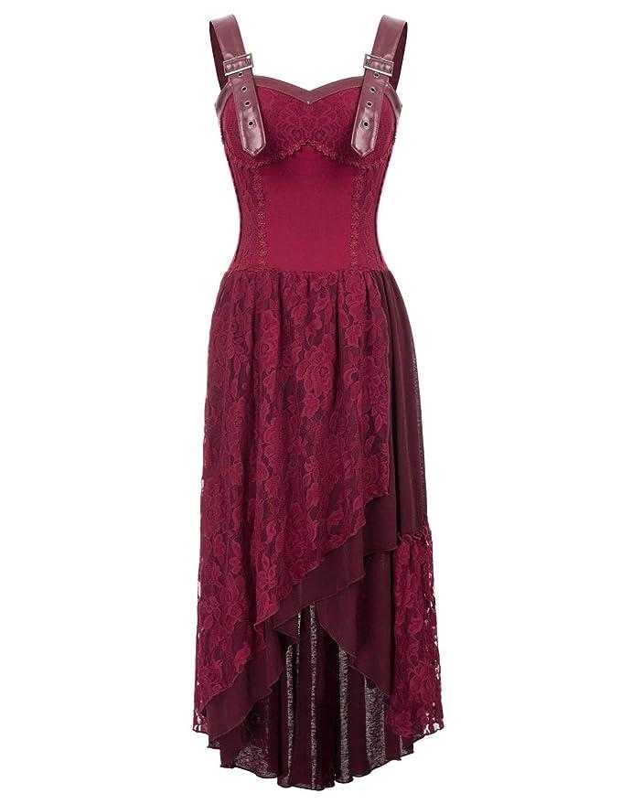 Belle Poque Mujer Vestido Vintage de Encaje Irregular Victoriano Estilo Bohemio para Fiesta de Época Medieval