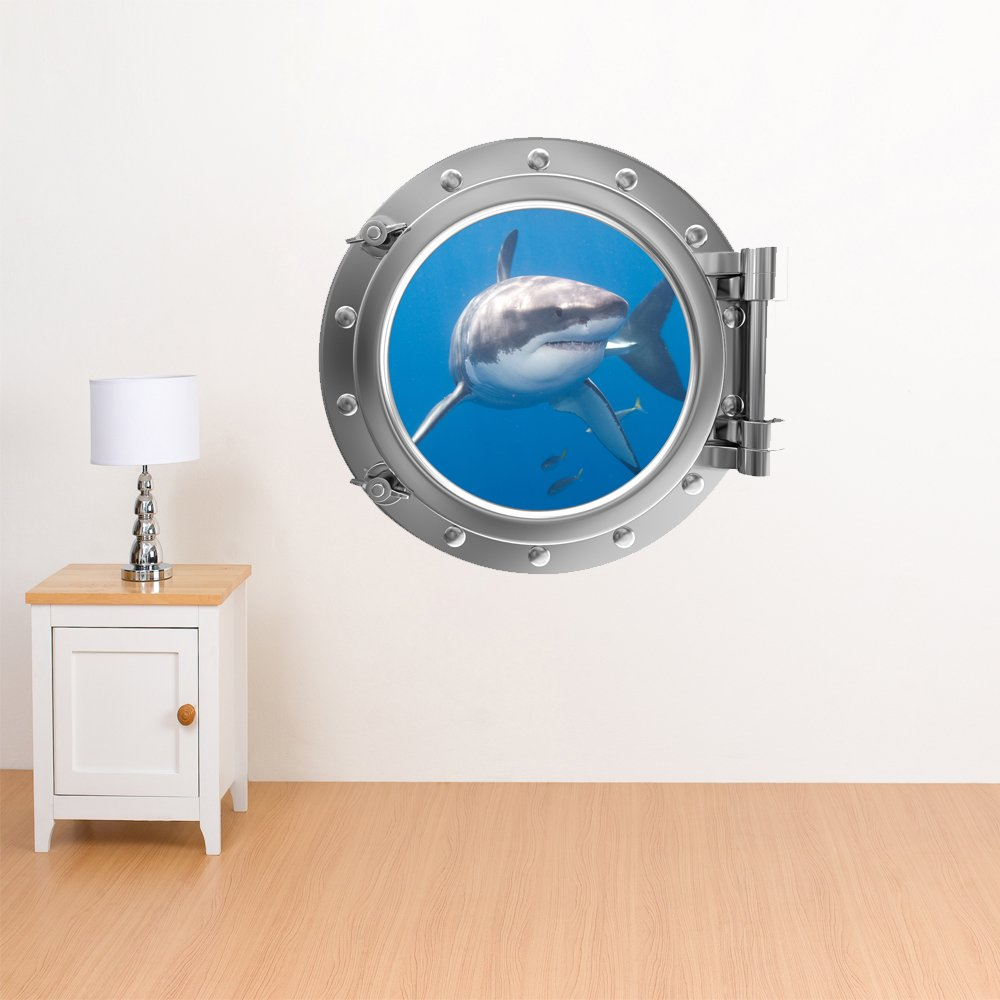 V&C Designs Full Colour Porthole Under the Sea Wall Sticker Decal Mural Ideal for Kids Bedrooms Bathrooms Hallway Office Lounge Great White Shark Design - Regular Size V&C Designs Ltd AHGRD015107