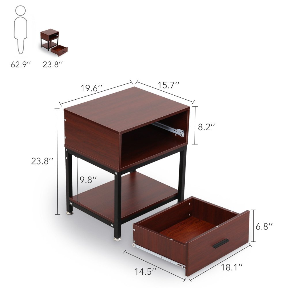 Night Stands, LITTLE TREE Side End Table with Drawer and Shelf for Bed Room Living Room, Beside Table with Storage, Metal Frame & Wood, Cherry by LITTLE TREE (Image #6)