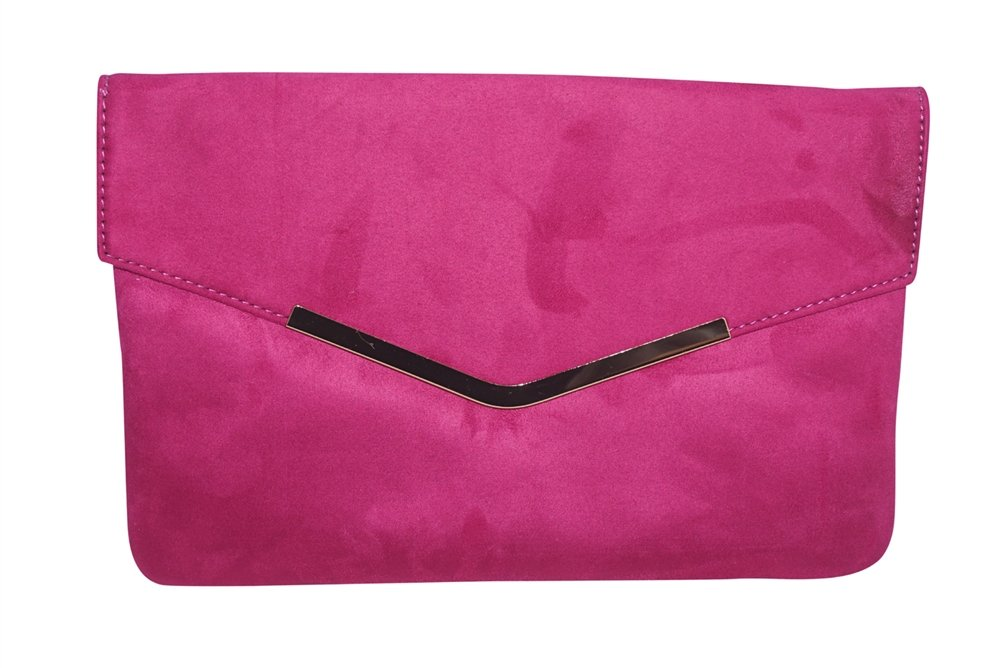 Chicastic Suede Envelope Clutch Purse - Fuchsia Pink