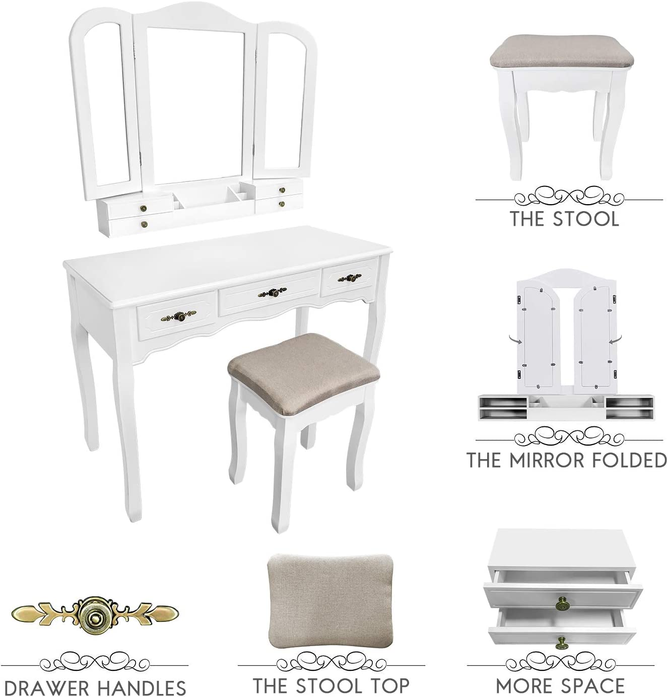 Tri Folding Mirror Vanity Dressing Table Set with Cushioned Stool,7 Drawers