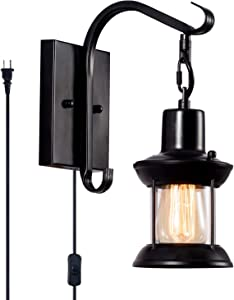 Vintage Wall Light Modern Black, Glass Shade Industrial Wall Sconce Plug in Lighting Fixture with 6.6FT Cord for Indoor Home Décor Headboard Rustic Retro Style (Black)