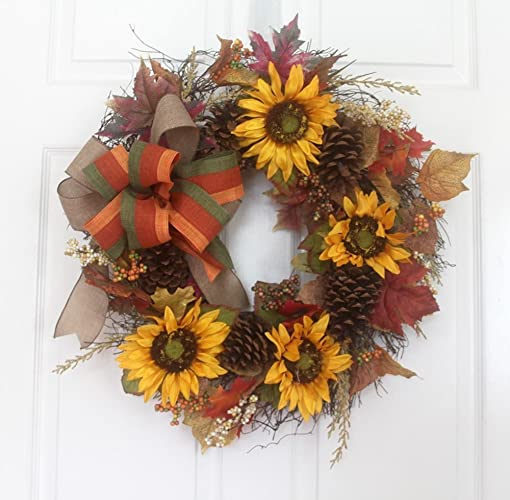 Merveilleux Fall Golden Sunflower Wreath, Fall Wreath For Front Door, Seasonal Wreath,  Thanksgiving Wreath