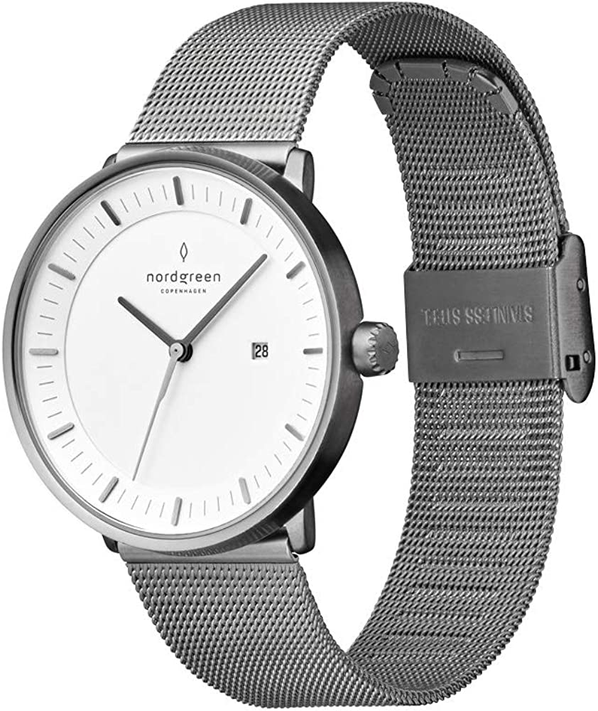 Nordgreen Unisex Philosopher Scandinavian Gun Metal Analog Watch with Mesh Or Leather Strap 10005