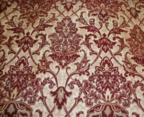"55"" Wide Crimson Damask Chenille Upholstery Drapery Fabric by The Yard"