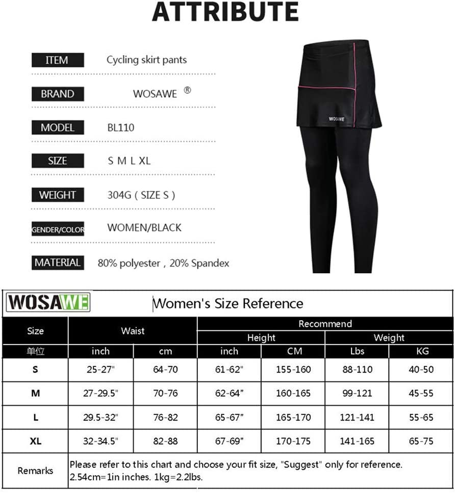 WOSAWE Falda Corta de Ciclismo para Mujer 2 en 1 Transpirable Pantalones Cortos de Bicicleta con Gel 3D Acolchada