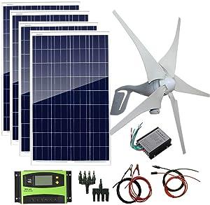 AUECOOR 800W 12V 24V Solar Panel Wind Turbine Kit: 400W Wind Turbine Generator + 4 pcs 100W Poly Solar Panel+ Accessories Home Cabin RV Off Grid System