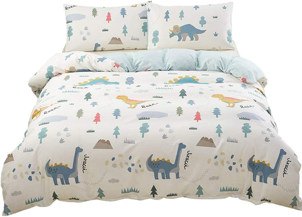 SAIWER Dinosaur Cartoon Kids Boys Duvet Cover and Pillow Shams Bedding Set 100% Cotton with Corner Ties and Zipper (3pcs,Queen Size)