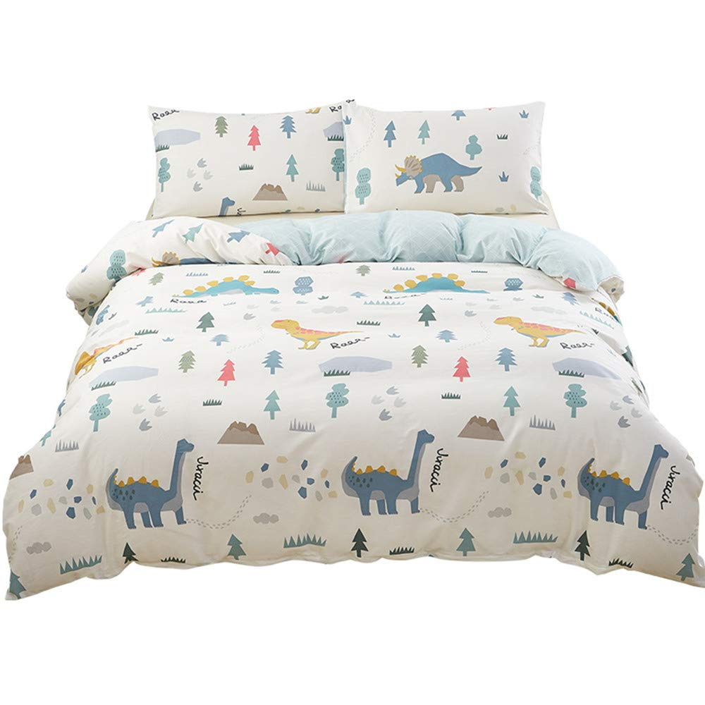 SAIWER Dinosaur Cartoon Kids Boys Duvet Cover and Pillow Shams Bedding Set 100% Cotton with Corner Ties and Zipper (3pcs,Twin Size)