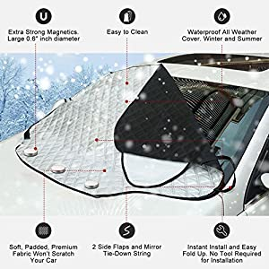 VIVVAUTO Magnetic Car Windshield Cover for Ice and Snow, Hail / 3 Magnets Most Secure Fitting and Easiest Installation / Waterproof, Soft Scratch-Free, Padded Liner - 2018 Design Protects Wiper Blades