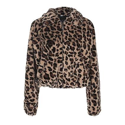 Inciple NUEVO Lujo Abrigo de piel Artificial Estampado de leopardo Ropa de abrigo de invierno Bajar