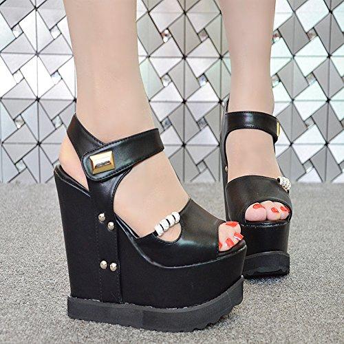 locali l'estate notturni scarpe super di sandali GTVERNH a 15cm e nero la le primavera inferiore spillo spessore 4 35 muffin tacchi cunei qYYXt