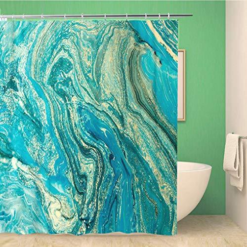 Awowee Bathroom Shower Curtain Blue Aquamarine Marbling Creative Abstract Oil Cracks Liquid Paint 72x78 inches Waterproof Bath Curtain Set with Hooks ()