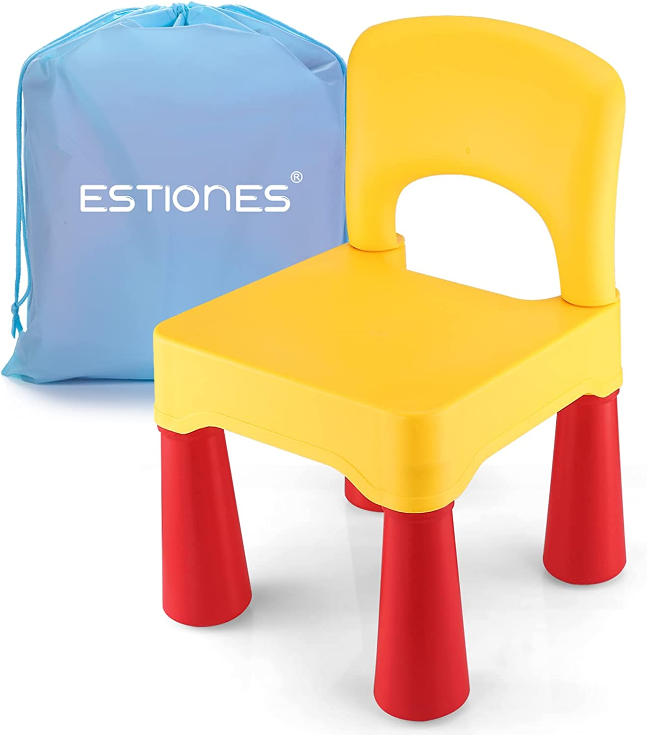 ESTIONES Kids Chair, Toddler Chair, Toddler Chairs for Boys and Girls, an Extra Portable Storage Bag, Ergonomic Design, Environmentally Friendly Durable Plastic, (Lemon Yellow)