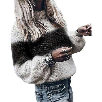 Miuniu Women O Neck Stripe Pullover Sweater Warm Casual Sweater Pullovers