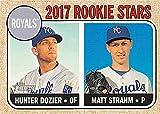 Hunter Dozier and Matt Strahm baseball card (Kansas City Royals) 2017 Topps Heritage #203 Rookie Stars