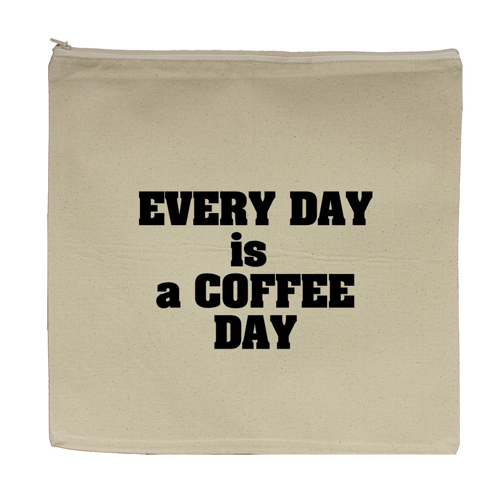 Every Day Is A Coffee Day Canvas Zipper Tote Bag Makeup Bag