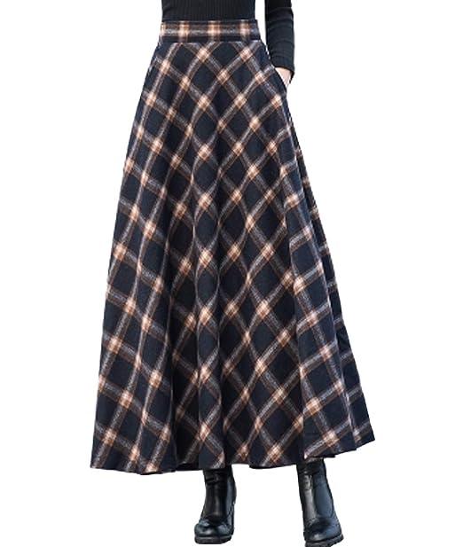 d63dd9830d Femirah Women's Warm Woolen Plaid Pleated A Line Skirt: Amazon.co.uk:  Clothing