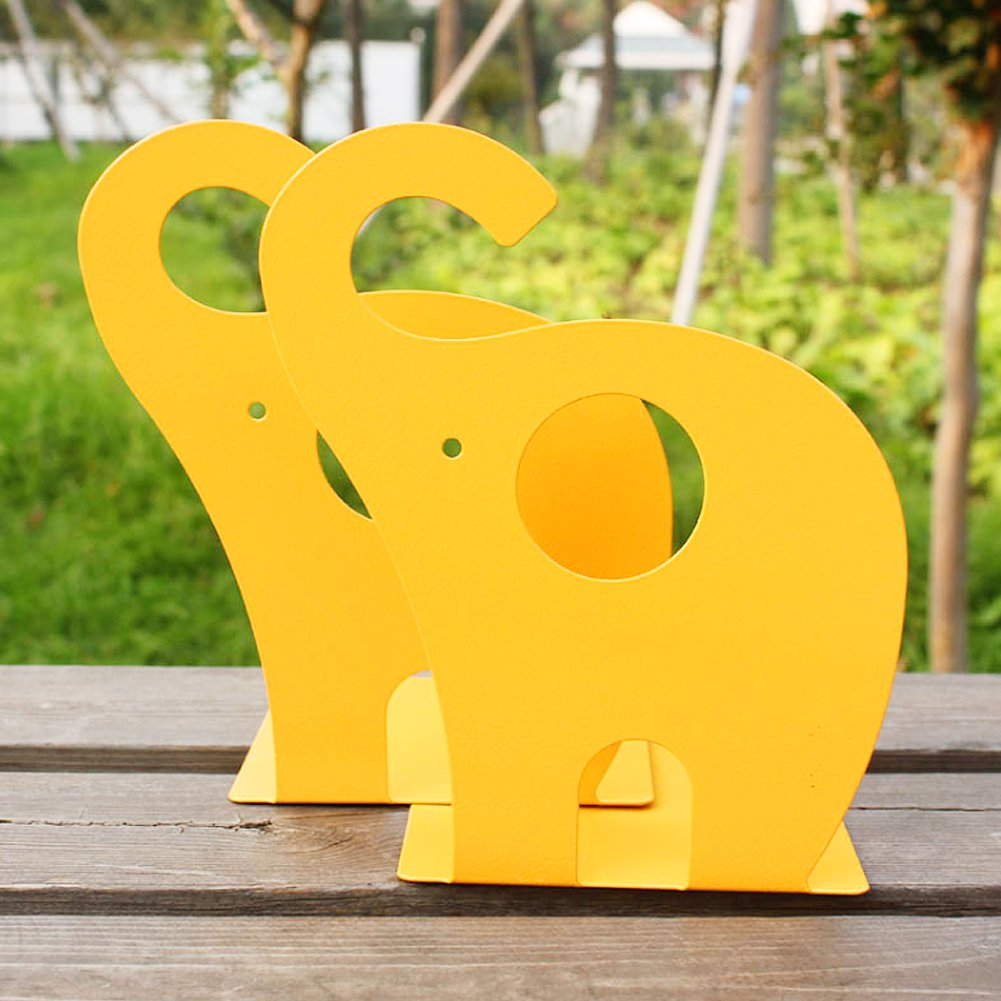 Black Cartoon Elephant Pattern Book Organizer Cute Metal Bookends for Kids School Library Desk Study Home Office Decoration Gift