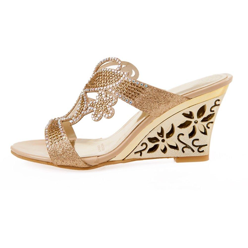 SaraIris Womens Hollow Wedge Heel Slingback Summer Shoes Peep Toe Butterfly Rhinestone Casual Sandals