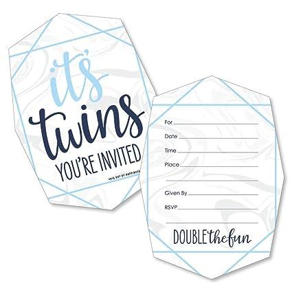 Amazon Com It S Twin Boys Invitaciones Para Rellenar Con