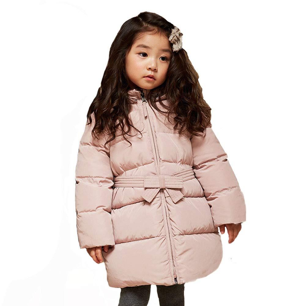 rose 100cm YZ-HODC Doudoune Longue Section bébé 90130cm Fille Chaude à Capuche Doudoune Moyen et Petits Enfants, Deux Couleurs en Option