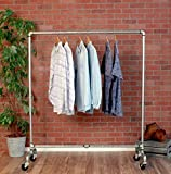 Industrial Pipe Rolling Clothing Rack Galvanized Silver Pipe by William Robert's Vintage