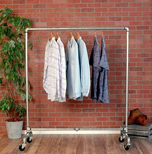 Industrial Pipe Rolling Clothing Rack Galvanized Silver Pipe by William Robert's Vintage by William Roberts Vintage