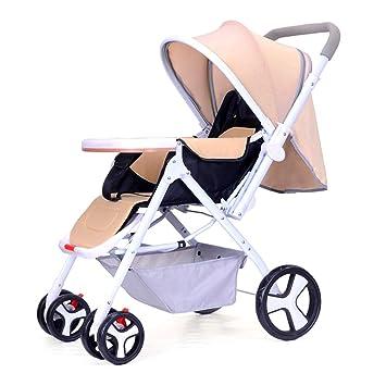 SJZC Cochecito Carrito Bebé Plegable Ligero CóModo Sentado Plato con Sombrero Carro,Khaki: Amazon.es: Deportes y aire libre