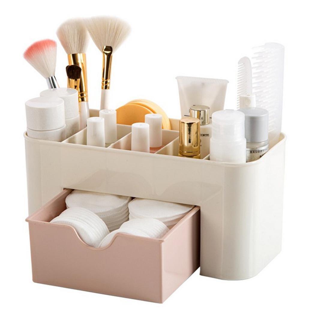 Cnlinkco Women Makeup Case Perfume Jewelry Cosmetic Holder Storage Organizer Box Drawer (Pink)