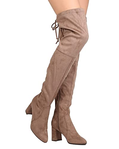 1d2c8506926d Breckelle s Women Faux Suede Thigh High Drawstring Chunky Heel Boot GA96 -  Taupe (Size